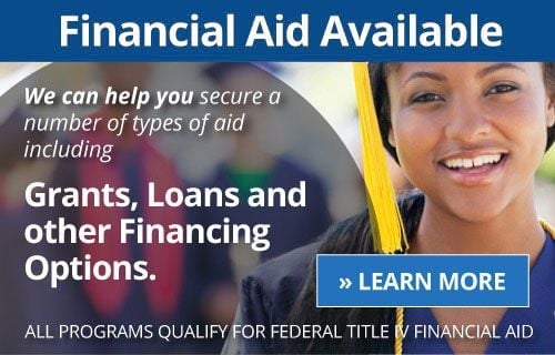 Text on the graphic says Financial Aid Available. We can help you secure a number of types of aid including grants, loans and other financing options. Click here to learn more.