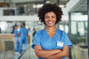 Nurse Smiling In Scrubs