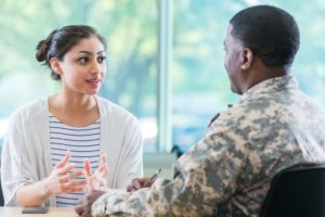 Veteran Meeting With School Counselor